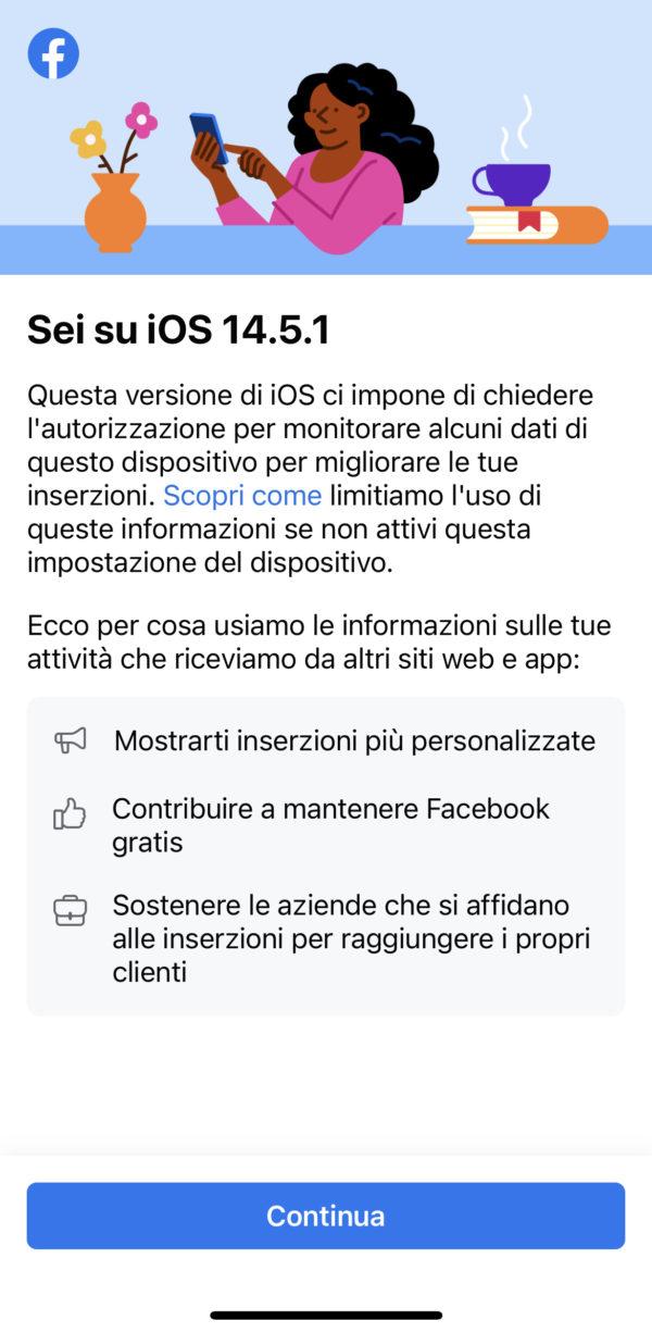 Aggiornamento facebook e ios 14.5.1